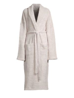 Image of Cozy and snug robe upgraded with heathered yarn. Lapel collar. Dropped shoulders. Long sleeves. Belted waist. Waist patch pockets. Polyester microfiber. Machine wash. Imported.