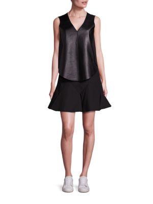 Lamb Leather Blend Vest & Sleeveless Fit & Flare Dress Set by Derek Lam 10 Crosby