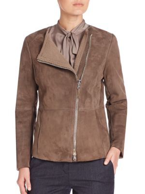 Collarless Shearling Moto Jacket by Eleventy