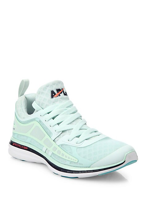 Image of Breathable mesh sneaker with 360 degrees of reflectivity. Nylon mesh and reflective TPU upper. Lace-up vamp. Polyester lining. Proprietary propelium EVA-blend sole. Padded insole. Imported.