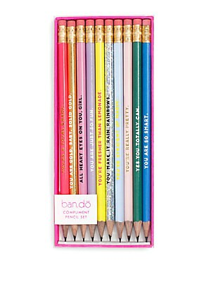 Image of Old school compliment pre-sharpened pencil Set consists of 10 pencils Attached erasers at back Made in USA. Gifts - Books And Music > Saks Fifth Avenue. ban. do.