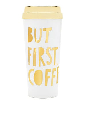 Image of A clever message printed in gleaming gold letters heightens the charm of this cool and playful tumbler. Capacity: 16oz. Acrylic Imported. Gifts - Books And Music > Saks Fifth Avenue. ban. do. Color: Gold.