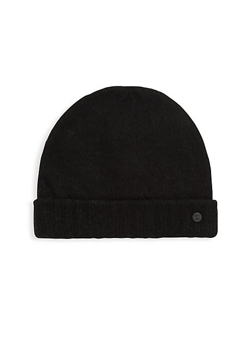 Image of Knitted beanie featuring metallic logo at brim. Fold-over brim. Extra fine merino/cashmere. Dry clean. Imported.