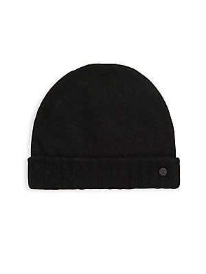 Image of Knitted beanie featuring metallic logo at brim Fold-over brim Extra fine merino/cashmere Dry clean Imported. Men Accessories - Fashion Accessories > Saks Fifth Avenue. Bickley + Mitchell. Color: Black.