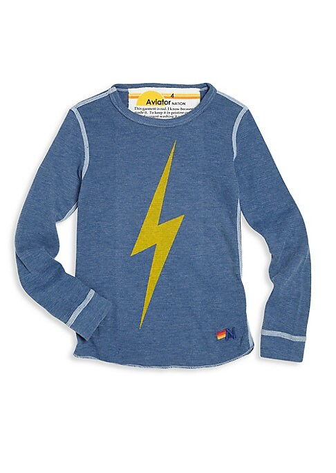 Image of Contrast seaming details uplift this thunder bolt tee. Roundneck. Long sleeves. Pullover style. Signature detail on the left hem. Cotton/polyester/rayon. Machin wash. Made in USA.