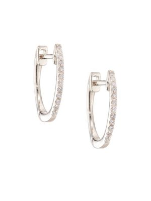 """Diamond & 14 K White Gold Huggie Earrings/0.5"""" by Ef Collection"""