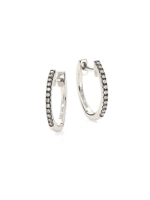 Diamond & 14K White Gold Huggie Hoop Earings/0.2""