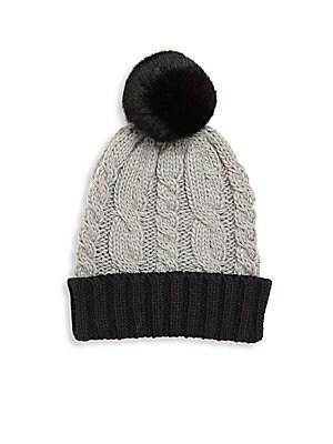 502cc4d5968 Surell - Girl s Rabbit Fur Pom-Pom Cable-Knit Hat - saks.com