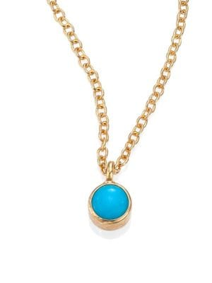 ZOË CHICCO 14K Yellow Gold Single Bezel Turquoise Necklace, 14 in Gold-Turquoise