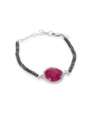 """Image of Silverite-beaded bracelet with diamond-trimmed ruby. Diamonds, 0.33 tcw. Ruby. Silverite beads.14k white gold. Adjustable length, 7"""".Lobster clasp. Imported."""