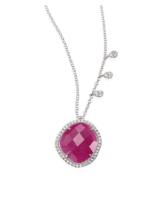 """Image of Halo-set ruby pendant necklace with diamond stations. Diamonds, 0.33 tcw. Ruby.14k white gold. Length, 16""""-17""""-18"""".Lobster clasp. Imported."""