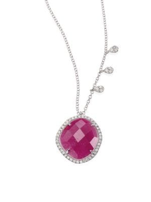 "Image of Halo-set ruby pendant necklace with diamond stations. Diamonds, 0.33 tcw. Ruby.14k white gold. Length, 16""-17""-18"".Lobster clasp. Imported."