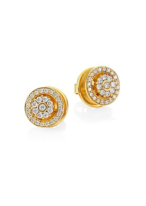 """Image of Diamonds, 0.43 tcw.18K yellow gold. Length, about 0.4"""".Width, about 0.4"""".Butterfly fastening. Imported."""