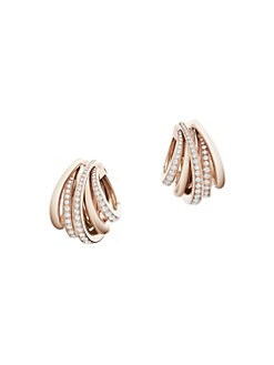 De Grisogono Allegra 18k Rose Gold Diamond Hoop Earrings