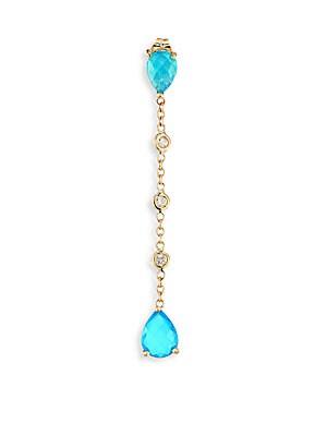 Jacquie Aiche Diamond Blue Opal 14k Yellow Gold Single Drop Earring