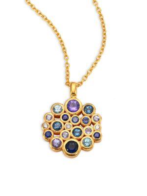 GURHAN Pointelle Diamond, Multi-Stone & 24K Yellow Gold Pendant Necklace in Gold Multi