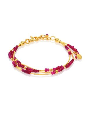 GURHAN Delicate Rain Ruby & 24K Yellow Gold Triple-Strand Bracelet in Gold Ruby