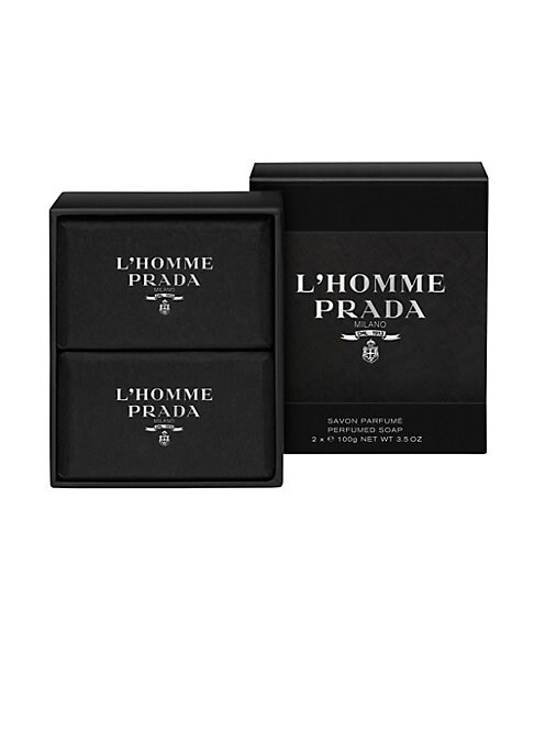Image of A velvety soap transforming into a fine foam that cleanses and protects the skin while gently perfuming it. L'Homme Prada is a fragrance of pairs, of doubles, of juxtapositions and layers. It is constructed around the association of the two most emblemati