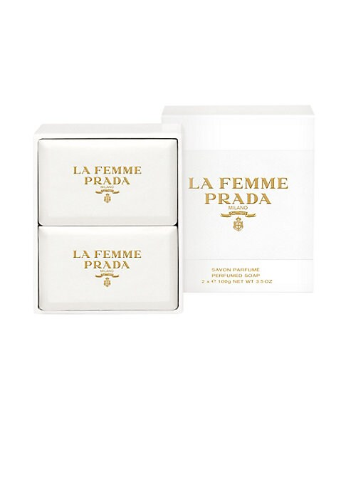 Image of Allure Best of Beauty Award Winner, 2016 Best Floral Fragrance.A velvety soap transforming into a fine foam that cleanses and protects the skin while gently perfuming it. La Femme Prada pays tribute to an unexpected flower: frangipani. Like a piece of fab