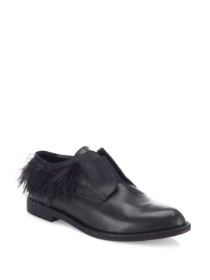 LD TUTTLE The Copper Feather-Trimmed Leather Oxfords in Black