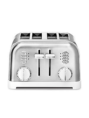 """Image of From the Cuisinart White Collection Stainless steel toaster with dual control panels 4 slice capacity High lift carriage Slide-out crumb tray 6-setting browning dials Reheat, defrost and bagel buttons LED indicators 12""""L x 11""""W x 7""""H Stainless steel/plast"""