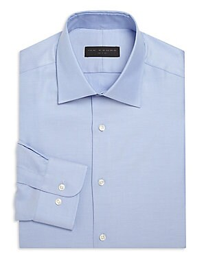 Image of Shirt enhanced by fine micro stripes for a distinct look Cutaway collar Front button closure Long sleeves with buttoned cuffs Cotton Machine wash Imported. Men Luxury Coll - Designer Dress Shirts. Ike Behar. Color: Med Blue. Size: 17.5x36.