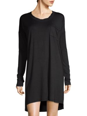 Image of Buttery soft sleepshirt features a striped design. Roundneck. Dropped shoulders. Long sleeves. Front patch pockets. Pullover style. Step hem. Rayon/polyester/spandex. Made in USA.