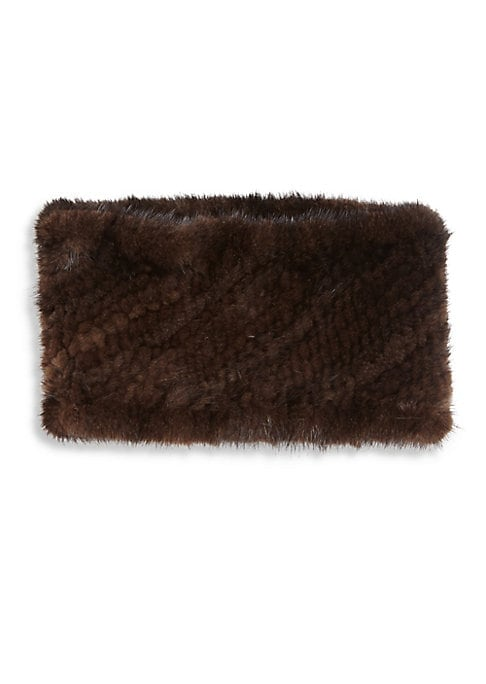 Image of Cold-weather staple in knitted mink fur. Fur type: Dyed mink. Fur origin: Denmark. Dry clean by fur specialist. Imported.
