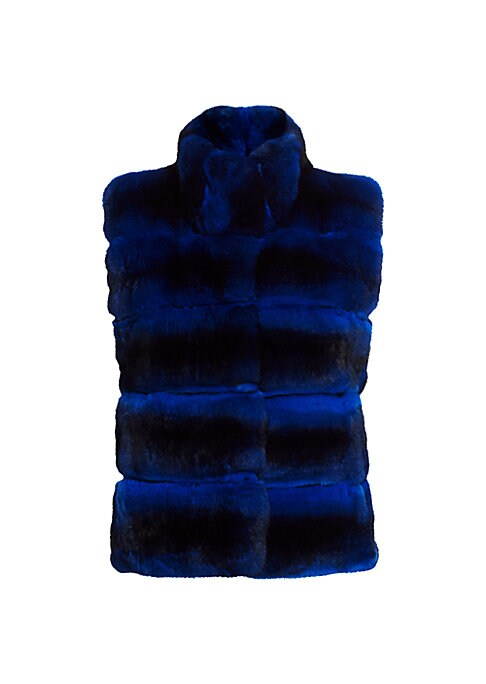 """Image of EXCLUSIVELY AT SAKS FIFTH AVENUE. Quilted vest in plush chinchilla fur. Stand collar. Sleeveless. Concealed hook-and-eye closure. Lined. About 22"""" from shoulder to hem. Fur type: Chinchilla with brightener added. Fur origin: Argentina. Dry clean by fur sp"""