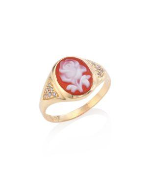 Image of Rose Mini Cameo Diamond & 14K Yellow Gold Ring
