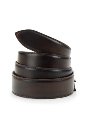 CORTHAY Ebene Patina Leather Belt in Dark Brown