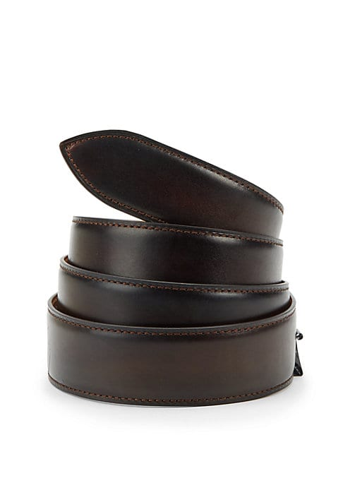 Image of EXCLUSIVELY AT SAKS FIFTH AVENUE. Handcrafted French calf leather belt with five holes for size adjustment for everyday style. Corthay buckle in a choice of finishes sold separately and fits into a single hole on the strap. Strap includes five holes on th