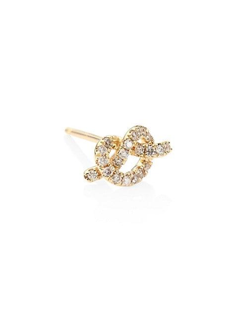 Love Knot Diamond & 14K Yellow Gold Single Stud Earring