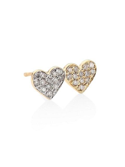 Small Double Heart 14K Yellow Gold & Diamond Pavé Heart Single Earring Stud