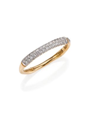Bamboo 18K Yellow Gold Diamond Pave Slim Band Ring in Gold/ Diamond