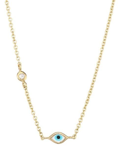Evil Eye Diamond & 14K Yellow Gold Pendant Necklace