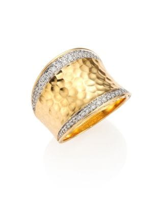 Classic Chain Pave Diamond & 18K Yellow Gold Hammered Saddle Ring in Gold/ Diamond