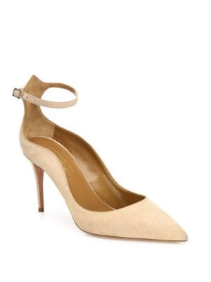 "Image of Curvy cut suede point-toe pump updated with ankle strap. Self-covered heel, 3.34"" (85mm).Suede upper. Point toe. Adjustable ankle strap. Leather lining and sole. Padded insole. Made in Italy."