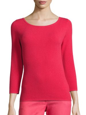 Honeycomb Three-Quarter Sleeve Tee by Escada