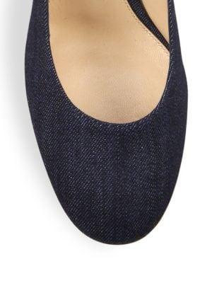 GIANVITO ROSSI Leathers Denim Ankle-Wrap Block-Heel Pumps