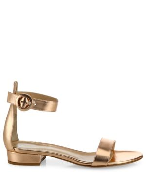 GIANVITO ROSSI Leathers Metallic Leather Ankle-Strap Sandals