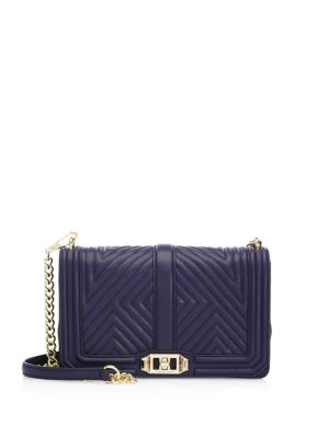 """Image of Convertible crossbody with luxe geo-quilted design. Removable chain-and-leather crossbody strap, 22"""" drop. Turn-lock flap closure. Goldtone hardware. One inside zip pocket. Fully lined.9.5""""W X 6""""H X 3.5""""D.Leather. Imported."""