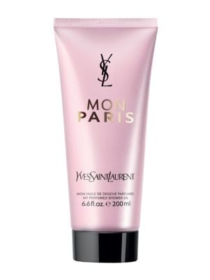 Image of Cleanse your skin with Yves Saint Laurent Shower Oil, a refreshing formula scented with the brand's fragrant Mon Paris scent. The fragrance opens with red berries and pear, which immediately exude sensuality and femininity, while exotic white datura flowe