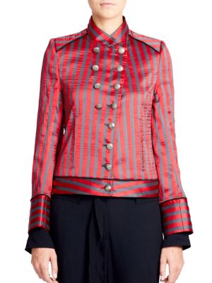 """Image of Stunning stripe motif with military-inspired flare. Stand collar. Long cuffed sleeves. Button front. Waist welt pocket. Banded hem. Lined. About 23"""" from shoulder to hem. Polyester/cotton/silk. Dry clean. Made in Italy. Model shown is 5'10"""" (177cm) wearin"""