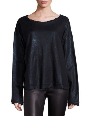 """Image of Offbeat-style top accentuated with distressed edges. Boatneck. Dropped shoulders. Long sleeves. Pullover style. About 25"""" from shoulder to hem. Cotton. Hand wash. Imported. Model shown is 5'10"""" (177cm) wearing size Small."""