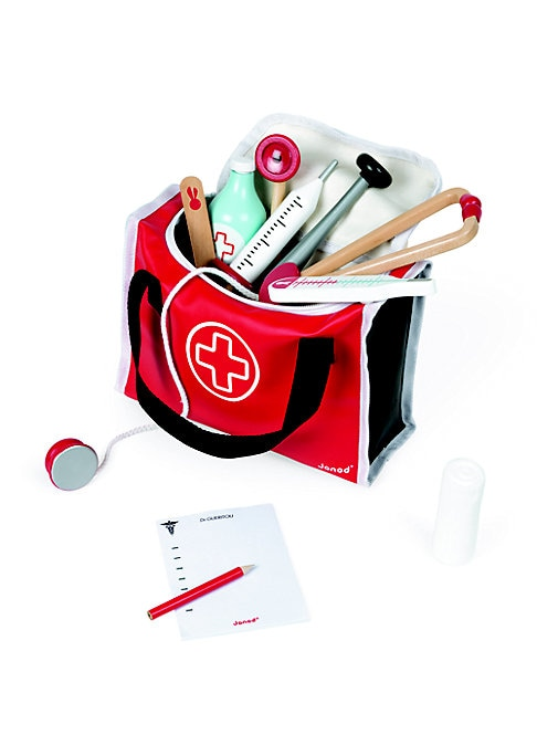 """Image of Your future doctor will love to play with this entertaining set that includes 11 accessories, including but not limited to a zippered bag stethoscope, thermometer, prescription pad and pen.9.45"""" W X 6.50"""" H X 3.74"""" D.Wood/vinyl. Recommended for ages 3 and"""