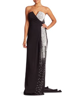 Buy Pamella Roland Draped Crystal & Sequined Strapless Gown online with Australia wide shipping