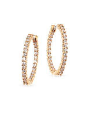 18 K Yellow Gold 1.53 Tcw Diamond Hoops by Roberto Coin
