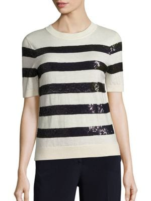 Sequin-Striped Wool Knit Top by Carolina Herrera