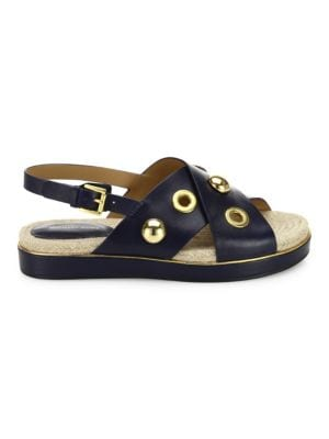 Michael Kors Collection Hallie Studded Leather Crisscross Flatform Sandals